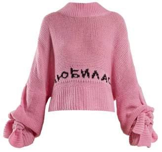 Natasha Zinko Logo Intarsia Cashmere Sweater - Womens - Pink