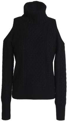 Theory Cold-Shoulder Cable-Knit Wool-Blend Turtleneck Sweater