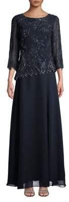 J Kara Plus Three-Quarter Sleeve Beaded Gown