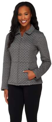 Isaac Mizrahi Live! Diamond Quilted Zip Front Knit Jacket