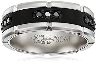Sapphire Tungsten and Titanium 8mm Matte Two-Tone Finish with Genuine Diamond Comfort Fit Wedding Bands Rings for Men