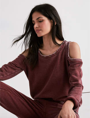 Lucky Brand GROMMET DETAIL COLD SHOULDER SWEATSHIRT