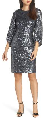 Eliza J Blouson Sleeve Sequin Sheath Dress