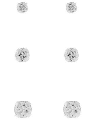Accessorize 3X Plain Crystal Stud Set