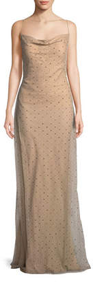 Jason Wu Point d'Esprit Cowl-Neck Slip Evening Gown with Crystals