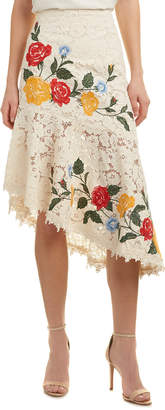 Champagne & Strawberry Embroidered Pencil Skirt