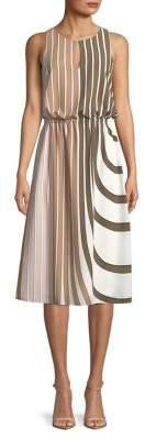 Adrianna Papell Stripe Midi Blouson Dress