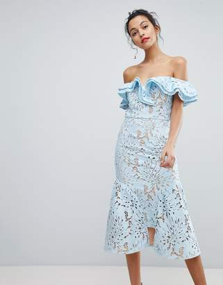 Jarlo Frill Cutwork Lace Off Shoulder Stepped Hem Midi Dress
