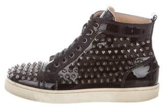 Christian Louboutin Patent Leather Spiked Sneakers Black Patent Leather Spiked Sneakers