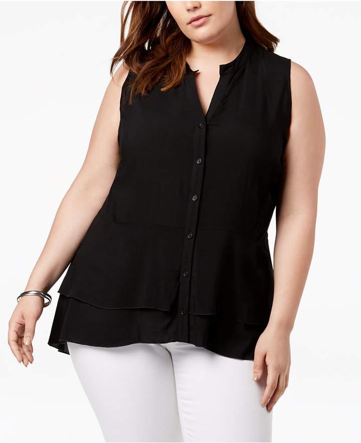 Love Scarlett Plus Size Split-Neck Blouse