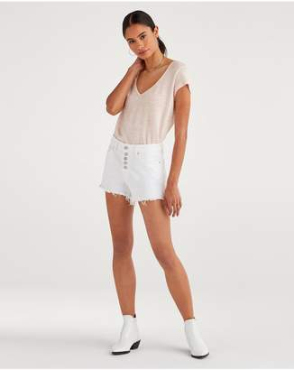 7 For All Mankind High Waist Short With Frayed Hem And Exposed Button Fly In White Runway