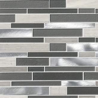 MSI Urban Loft Interlocking Pattern Random Sized Glass/Stone/Metal Tile in Gray