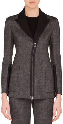 Akris Sean Zip-Front Stretch-Wool Tweed Jacket w/ Patch Pockets