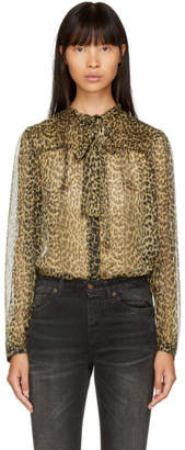 Saint Laurent Beige Leopard Chiffon Shirt