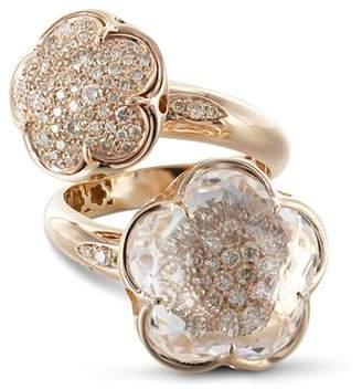 Pasquale Bruni 18K Rose Gold Bon Ton Champagne Diamond & Rock Crystal Floral Cocktail Ring