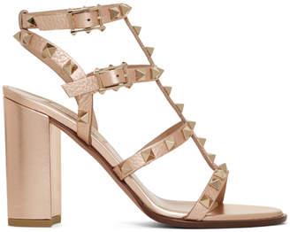 Valentino Pink Garavani Rockstud Heeled Sandals