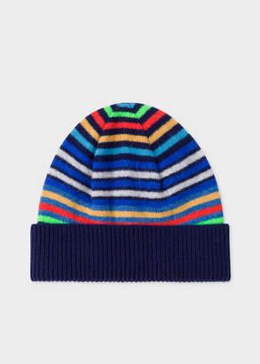 7dda2d6b55b Paul Smith Men s Navy Striped Wool Beanie Hat