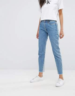 Calvin Klein High Waisted Straight Leg Jean with Contrast Hem Detail $174 thestylecure.com