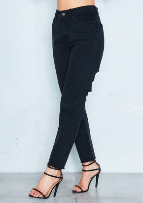 2bdc8ebe634d24 Missy Empire Tyler Black Denim Distressed Back Mom Jeans