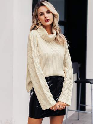 Shein Simplee Solid Drop Shoulder Turtleneck Cable Sweater