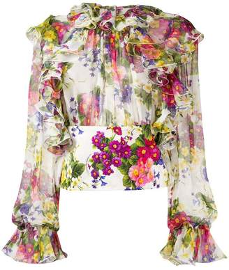 Dolce & Gabbana floral-print ruffled blouse