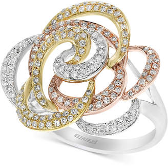 Effy Diamond Flower Swirl Ring (5/8 ct. t.w.) in 14k Gold, White Gold & Rose Gold