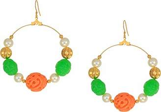 Kenneth Jay Lane Women's Gold with Jade/Coral/White Pearl Hoop Fishhook Earrings