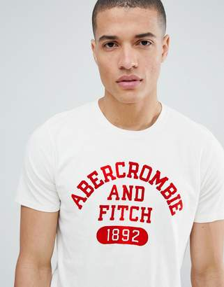 Abercrombie & Fitch varsity flock print logo crew neck t-shirt in white