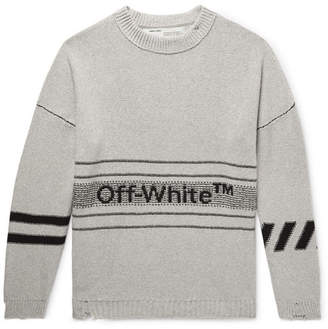 Off-White Off White Distressed Logo-Intarsia Cotton-Blend Sweater - Men - Gray