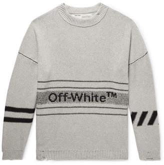 Off-White Distressed Logo-Intarsia Cotton-Blend Sweater