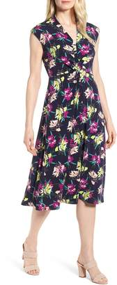 Chaus Knot Front Print Midi Dress