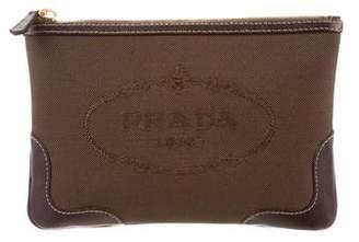 Prada Logo Canvas Cosmetic Bag