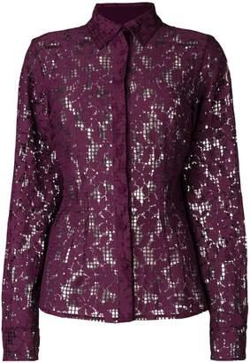 Talbot Runhof floral mesh shirt