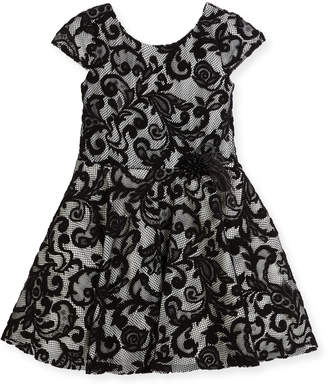Neiman Marcus Zoe Lovely Lace Contrast Overlay Dress, Size 2-6X