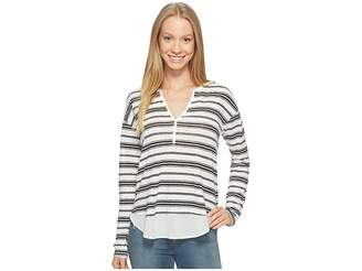 Sanctuary Striped Faraday Henley Top Women's Long Sleeve Pullover