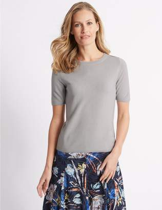 Marks and Spencer Cashmilon Round Neck Short Sleeve Jumper