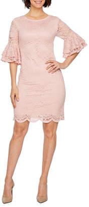 Liz Claiborne 3/4 Bell Sleeve Floral Lace Sheath Dress