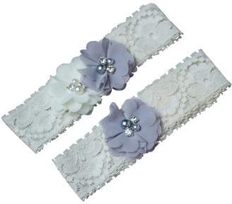 The Pink Bunny Garters Gray Grey Silver and White Chiffon Flower Wedding Garter Set