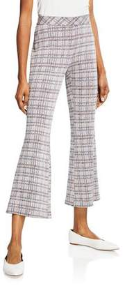 Rosetta Getty Plaid Jersey Pull On Cropped Pants