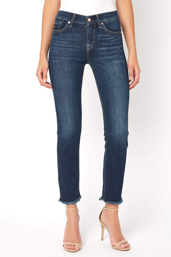 7 For All Mankind B(air) Roxanne Frayed Hem Ankle Jean