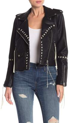 Blank NYC BLANKNYC Denim Bonded Moto Faux Leather Jacket