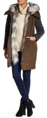 Vera Wang Removable Faux Fur Collar Knit Sleeve Coat $398 thestylecure.com