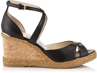Jimmy Choo Alanah 80 Leather Wedge Sandals