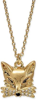 "Kate Spade Gold-Tone Pave Fox Pendant Necklace, 16"" + 3"" extender"