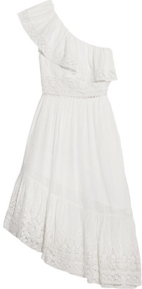 LoveShackFancy - Pamela One-shoulder Crochet-paneled Swiss-dot Cotton Dress - Ivory