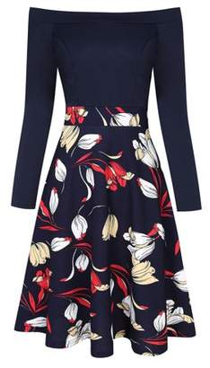 Lintimes Women's Vintage Floral Swing Tunic Dress Long Sleeve Off Shoulder Cocktail Party Dresses Color:Navy Size:L