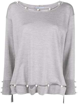 Blumarine pearl embellished fine-knit sweater