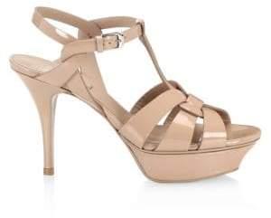 Saint Laurent Patent Leather Platform Slingback Sandals