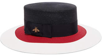 Gucci Embellished Grosgrain-trimmed Straw Hat - Navy