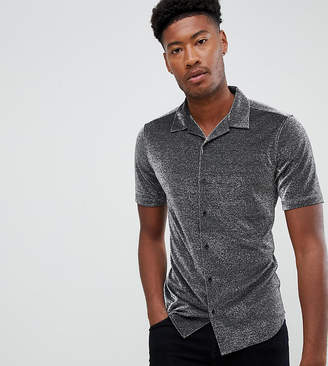Asos DESIGN Tall regular fit shirt in silver metallic with revere collar